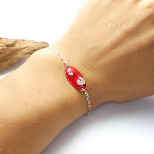 Bracelet coeur Valentine en argent massif et résine rouge Valentine 65,00€