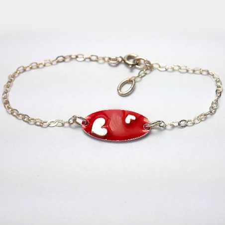 Valentine heart sterling silver red bracelet Valentine 65,00€