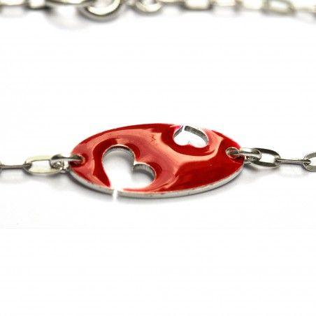 Bracelet coeur Valentine en argent massif et résine rouge Valentine 59,00€
