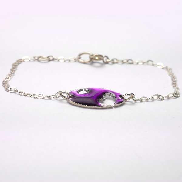 Bracelet coeur Valentine en argent massif et résine violette Valentine 59,00€