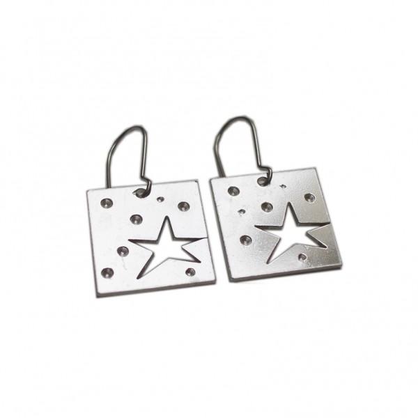 Boucles d'oreilles Etoile pendantes carrées en argent massif 925/1000  Star 75,00€