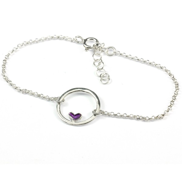 Small sterling silver Valentine purple heart bracelet Desiree Schmidt Paris Valentine 37,00 €