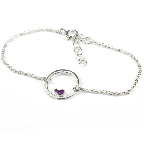 Small sterling silver Valentine purple heart bracelet Valentine 37,00€