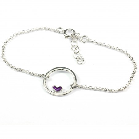 Small sterling silver Valentine purple heart bracelet Valentine 37,00 €