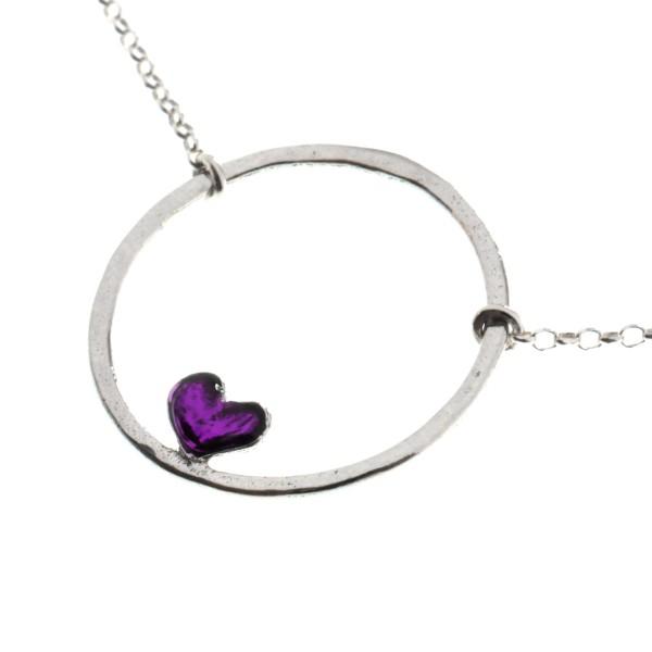 Collier coeur Valentine violet en argent 925  Valentine 47,00€