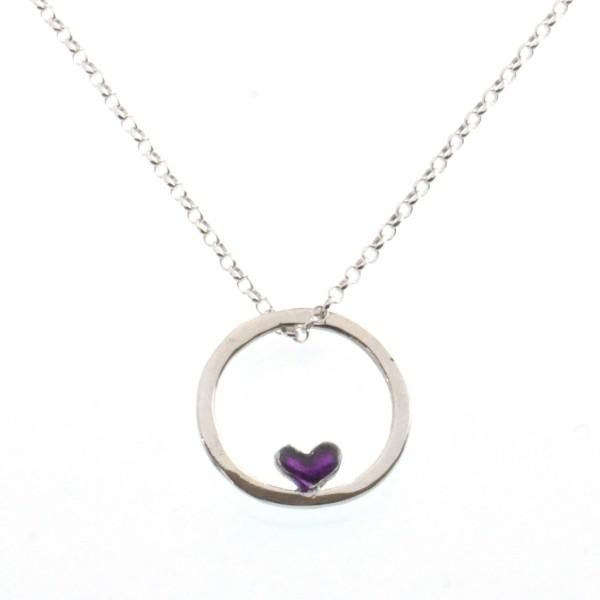 Kleine rote Herzkette aus Sterling Silber und Violettes Harz  Valentine 39,00€