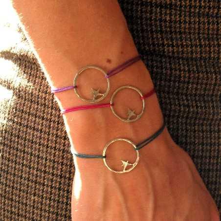 Bracelet cordon fushia étoile Nova en argent massif 925/1000  Nova 35,00€