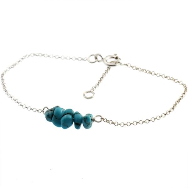 Bracelet réglable en argent massif et turquoises Basic 25,00€