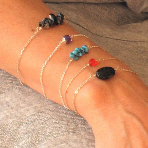 Adjustable bracelet in solid silver 925/1000 and turquoise Desiree Schmidt Paris Basic 25,00€