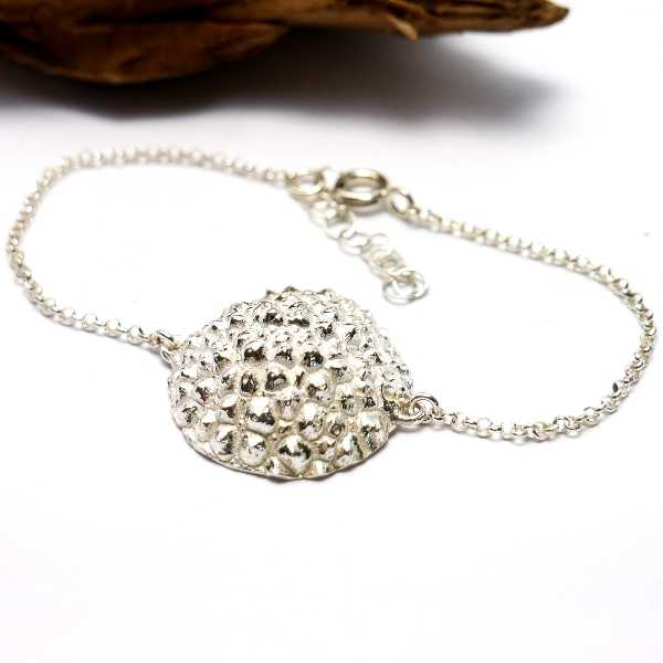 Rain Drop sterling silver bracelet with 24 carat gold drop Perle de Pluie